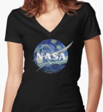 Starry NASA Women's Fitted V-Neck T-Shirt