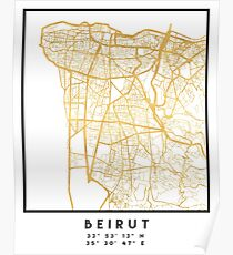 BEIRUT LEBANON CITY STREET MAP ART Poster