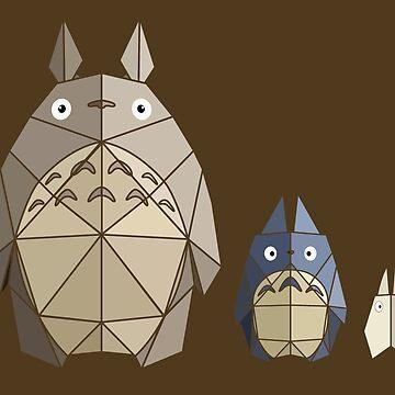 Origami Totoros by McBethAllen
