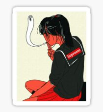 Supreme Japanese Schoolgirl Smoking tee  Sticker