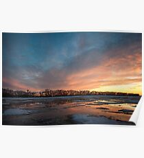 Sunset Over Spring Field Poster