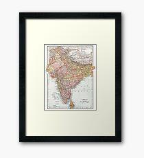 Vintage Map of India Framed Print