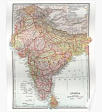 Vintage Map of India Poster