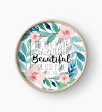 He Has Made Everything Beautiful In It's Time Bible Verse Floral Design Clock