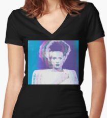 Pastel Bride of Frankenstein Women's Fitted V-Neck T-Shirt