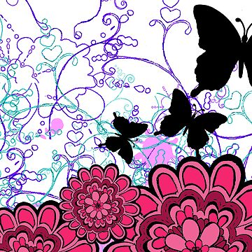 Pink butterfly garden by sarahgee