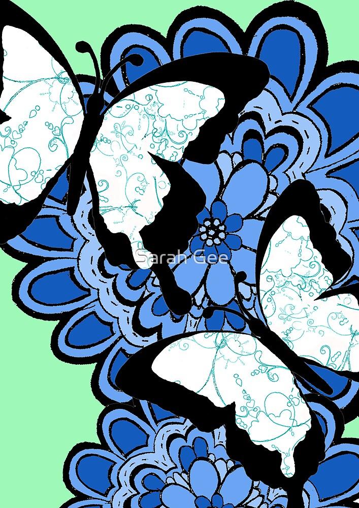 Blue swirl butterflies by Sarah Gee