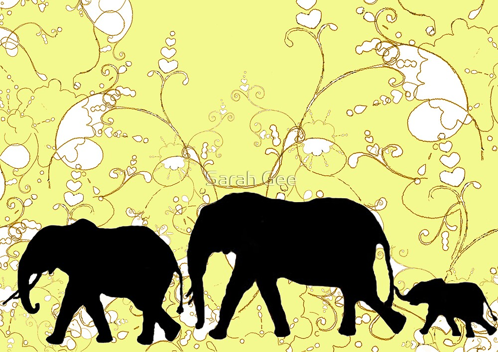 Family of elephants by Sarah Gee