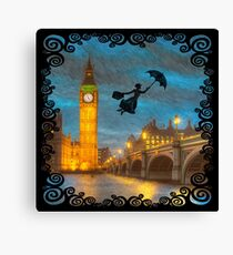 Magical Nanny Over London  Canvas Print
