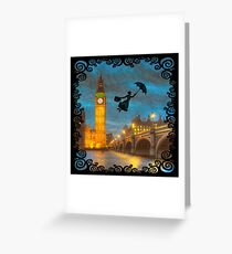 Magical Nanny Over London  Greeting Card