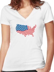 USA Map Women's Fitted V-Neck T-Shirt
