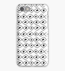 Seamless sketch vector pattern. White vertical twigs lines and zigzags with circles on brown background. iPhone Case/Skin