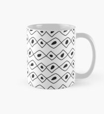 Seamless sketch vector pattern. White vertical twigs lines and zigzags with circles on brown background. Mug