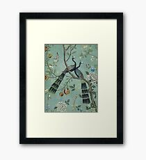 A Teal of Two Birds Chinoiserie Framed Print