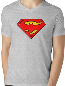 SuperBat - LOGO / SYMBOL Design (BLACK, YELLOW, AND RED) Mens V-Neck T-Shirt