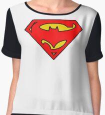 SuperBat - LOGO / SYMBOL Design (BLACK, YELLOW, AND RED) Women's Chiffon Top