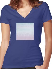pastel sky at dusk  Women's Fitted V-Neck T-Shirt
