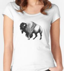 Buffalo Ink Bison Drawing Women's Fitted Scoop T-Shirt