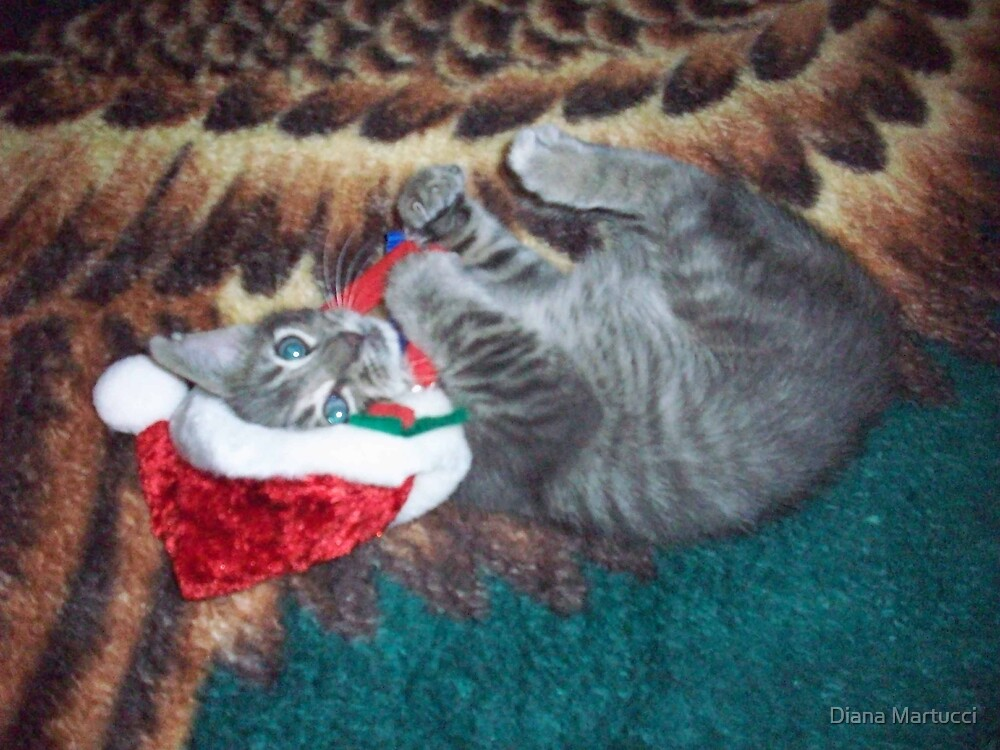 Lounging Christmas Kitty by Diana Martucci