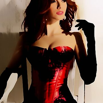 Lady in red, glamour dark haired beauty by cartoonsex
