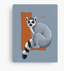 L is for Lemur Canvas Print
