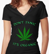 Weed Shirt - Don't Panic It's Organic Women's Fitted V-Neck T-Shirt