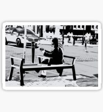 Busking for His Ticket Home - Guitar Player Sticker
