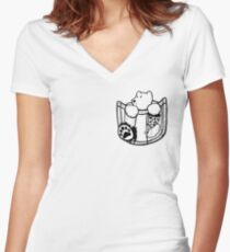 Pocket Bear Women's Fitted V-Neck T-Shirt