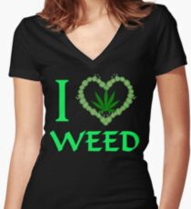 I Love Weed T-shirts Women's Fitted V-Neck T-Shirt
