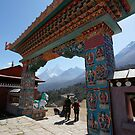 The gate of Thyengboche monastery with Ama Dablam by MichaelBr