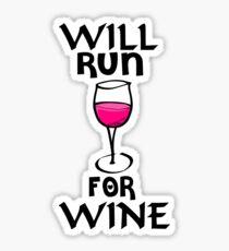Funny Wine Shirt - Will Run for Wine Sticker