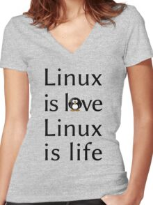 Linux is love Linux is Life Women's Fitted V-Neck T-Shirt