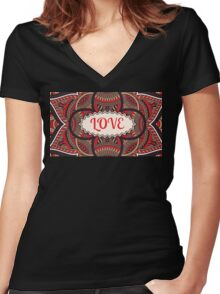 Love Pattern Women's Fitted V-Neck T-Shirt