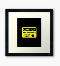 Caution Angry Gamer Framed Print