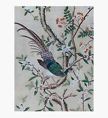 Antique Chinoiserie with Bird Photographic Print