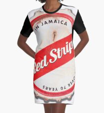 Red Stripe Bottle Cap Graphic T-Shirt Dress