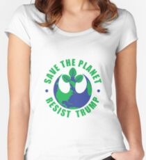 Save The Planet Resist Trump Women's Fitted Scoop T-Shirt