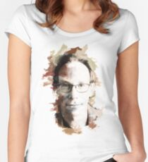 Paint-Stroked Portrait of Author and Activist, Lawrence Krauss Women's Fitted Scoop T-Shirt