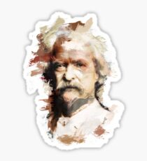Paint-Stroked Portrait of Author and Activist, Mark Twain Sticker