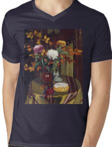 Felix Vallotton - Chrysanthemums And Autumn Foilage Mens V-Neck T-Shirt