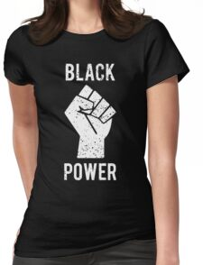 Black Power Fist White Womens Fitted T-Shirt