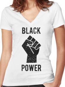 Black Power Fist Women's Fitted V-Neck T-Shirt