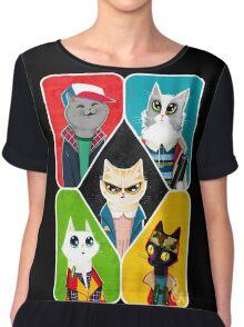 Stranger Cats Chiffon Top