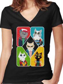 Stranger Cats Women's Fitted V-Neck T-Shirt
