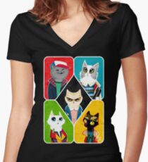 Stranger Cats Women's Fitted V-Neck T-Shirt