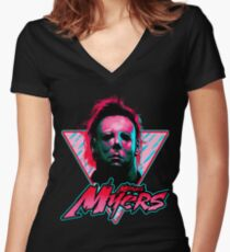 Michael Myers Stay Rad Women's Fitted V-Neck T-Shirt