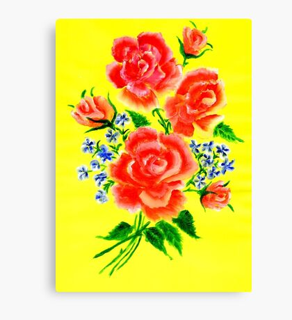 Watercolor flowers on yellow Canvas Print