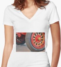 Detail of vintage car wheels Women's Fitted V-Neck T-Shirt
