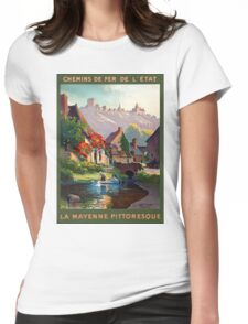 France Mayenne Restored Vintage Travel Poster Womens Fitted T-Shirt