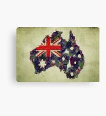 Australian Flag Map Fruits And Vegetables Canvas Print